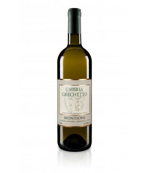 Bottiglia di vino bianco Umbria Grechetto Montioni